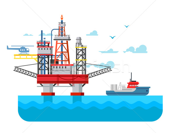 Drilling rig at sea Stock photo © jossdiim