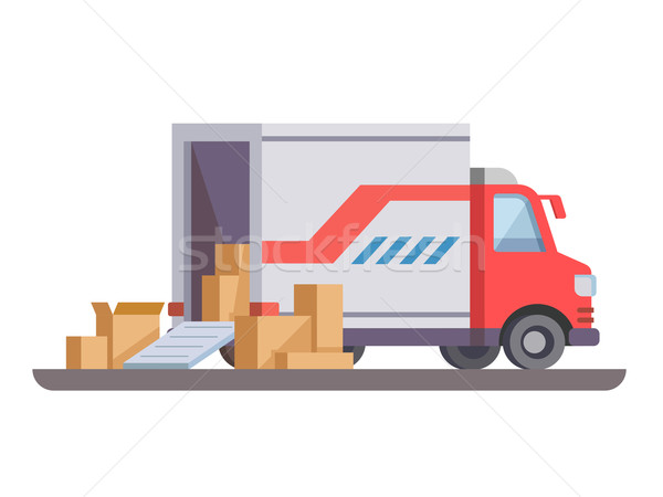 Stock photo: Delivery truck with box