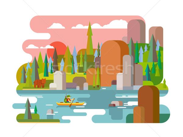 Rafting río estilo aire libre aventura verano Foto stock © jossdiim