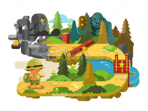 Travelers adventures on forest trail flat design Stock photo © jossdiim