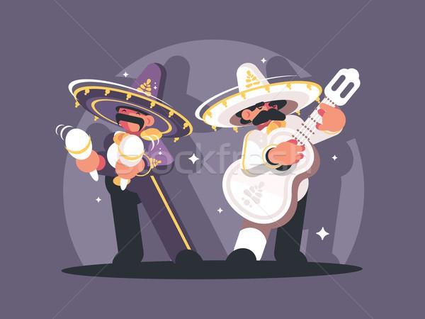 мексиканских Музыканты сомбреро играть гитаре человека Сток-фото © jossdiim