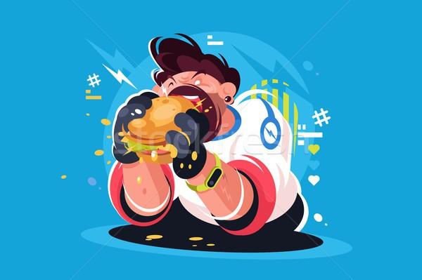 Guy Essen riesige lecker burger hungrig Stock foto © jossdiim