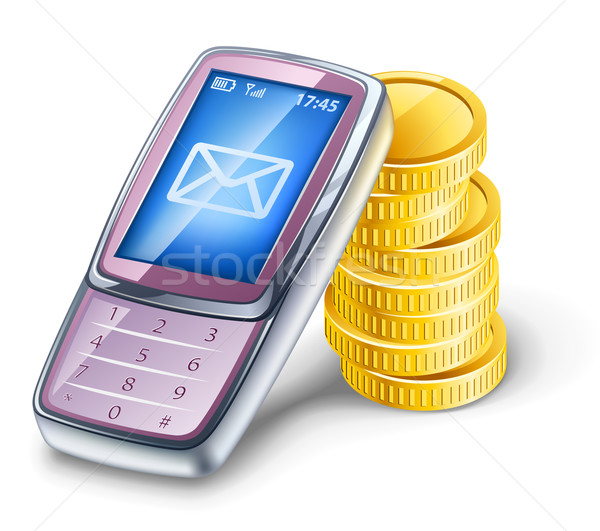 Teléfono móvil monedas blanco tecnología azul móviles Foto stock © jossdiim