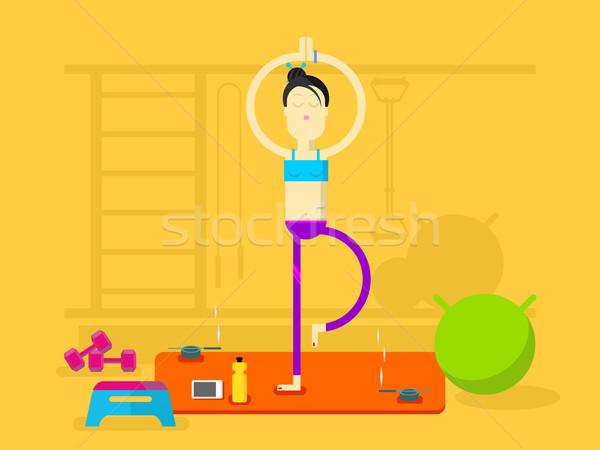 Girl is engaged in yoga Stock photo © jossdiim