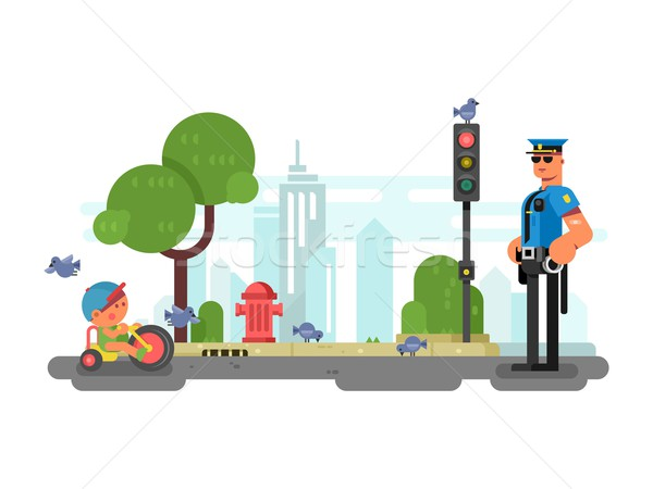 Stock photo: Police officer on the city street
