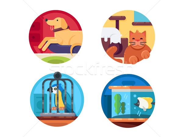 Pets icons set Stock photo © jossdiim