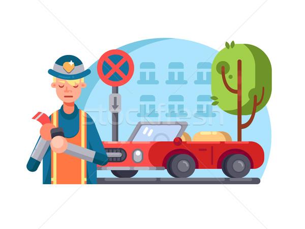 Rendőr téves parkolás vektor terv felirat Stock fotó © jossdiim