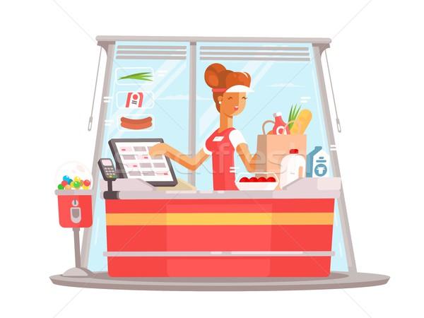 кассир супермаркета работник равномерный вектора Сток-фото © jossdiim