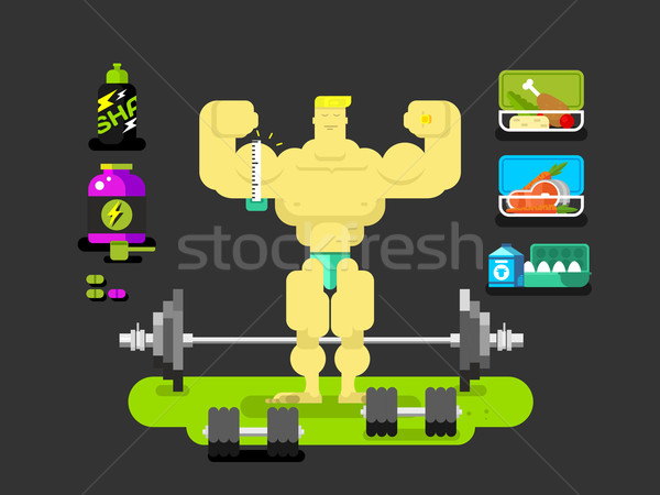 Bodybuilder character flat Stock photo © jossdiim