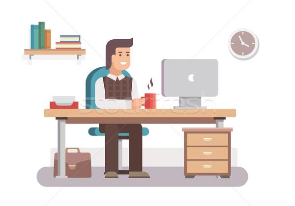 Foto stock: Hombre · oficinista · negocios · trabajo · escritorio · lugar · de · trabajo