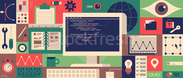 Web programming design flat concept Stock photo © jossdiim