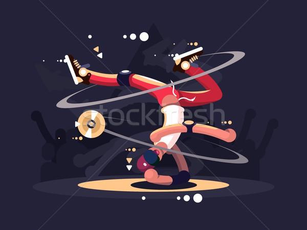 Breaktáncos tánc színpad éjszakai klub vektor férfi Stock fotó © jossdiim