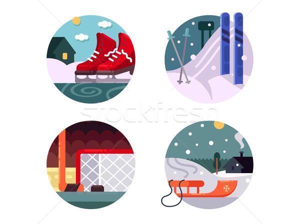 Winter sports icons set Stock photo © jossdiim