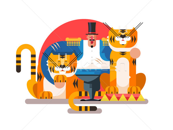 Stock photo: Animal trainer with tiger