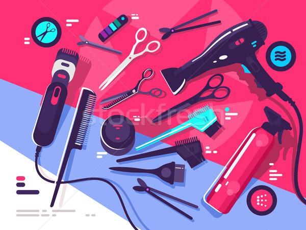 Szerszámok hajkefe hajszárító olló munka terv Stock fotó © jossdiim