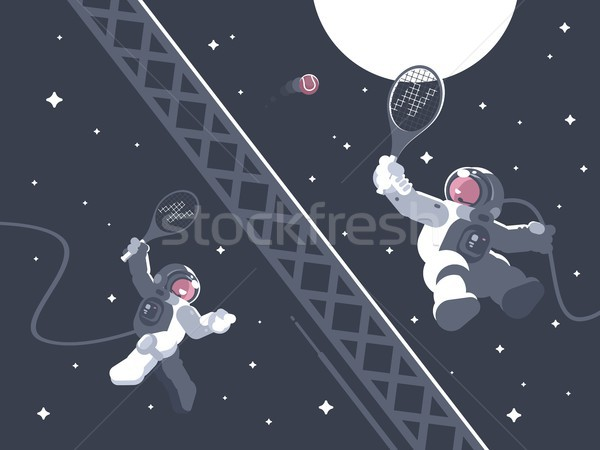 Astronauts playing tennis in outer space Stock photo © jossdiim