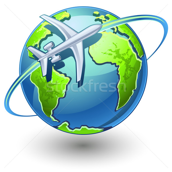 Airplane flying the earth Stock photo © jossdiim