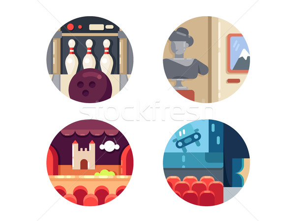 Icon set leisure and entertainment Stock photo © jossdiim