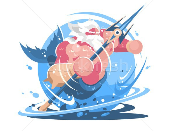 Character poseidon with trident Stock photo © jossdiim