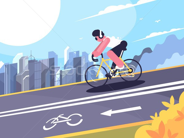Ciclista seguir ciclistas fones de ouvido vetor Foto stock © jossdiim