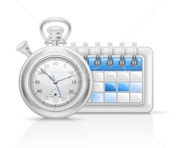 Takvim saat ikon beyaz kâğıt spor Stok fotoğraf © jossdiim