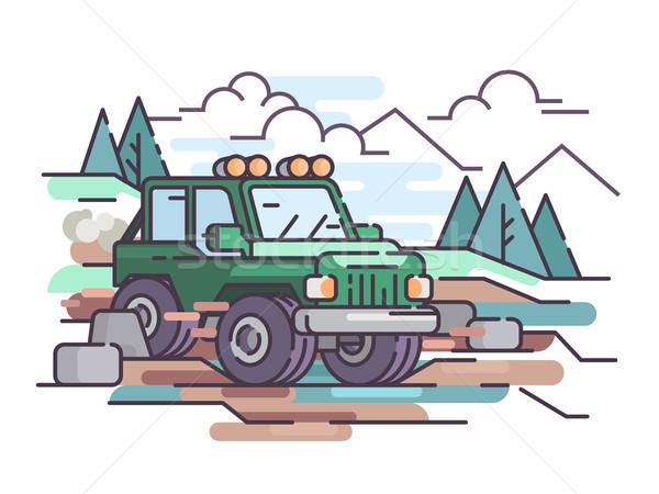 Podróży jeep pojazd wektora samochodu drogowego Zdjęcia stock © jossdiim