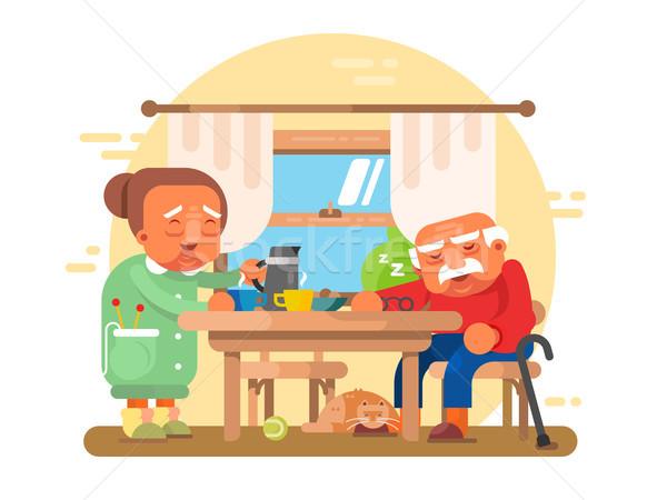 高齢者 祖父母 朝食 祖父 祖母 文字 ストックフォト © jossdiim