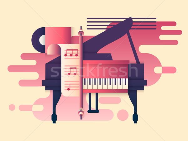 Piano diseno música instrumento jugar teclado Foto stock © jossdiim