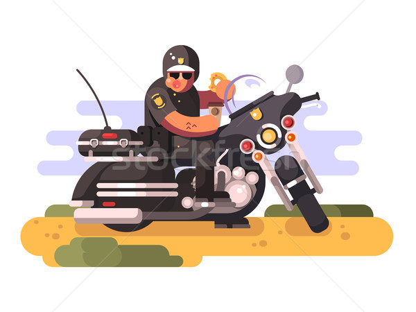 Police officer with donut and coffee on motorcycle Stock photo © jossdiim