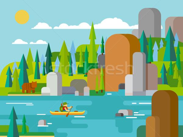 Rafting on river flat style Stock photo © jossdiim