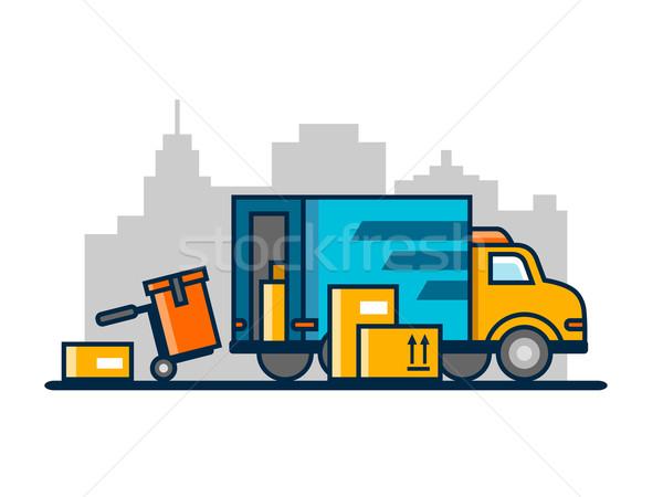 Stock photo: Unloading loading truck