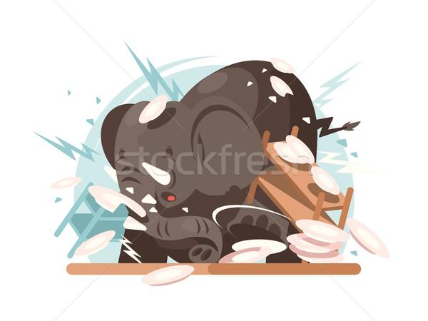 Elephant breaks utensils Stock photo © jossdiim
