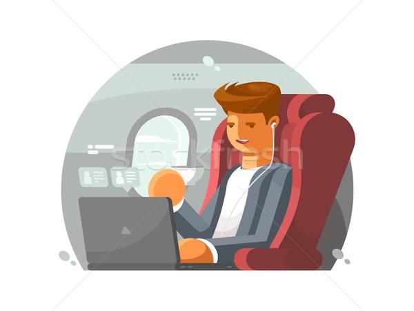 üzletember repülőgép férfi első osztály laptop üzlet Stock fotó © jossdiim