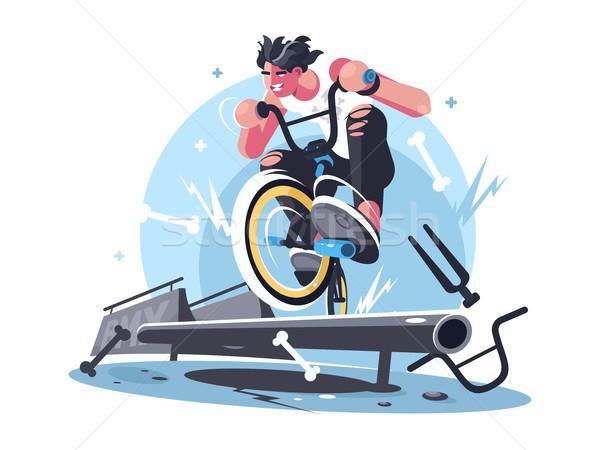 Young guy riding bicycle bmx Stock photo © jossdiim