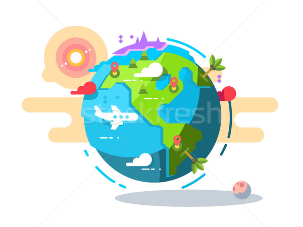 Plane flying around the world geometric style Stock photo © jossdiim