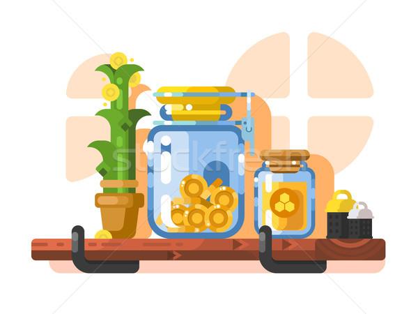 Oszczędności przechowywania złoty monet szkła jar Zdjęcia stock © jossdiim