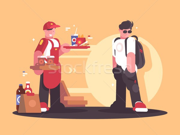Seller of fastfood in uniform Stock photo © jossdiim