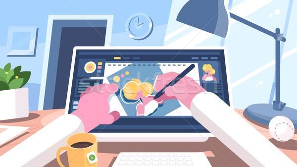 デザイナー イラストレーター コンピュータ ペン ビジネス オフィス ストックフォト © jossdiim