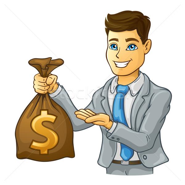 üzletember tart pénz táska fehér férfi Stock fotó © jossdiim