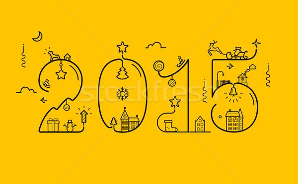 2015 decoração ano novo linha estilo Foto stock © jossdiim