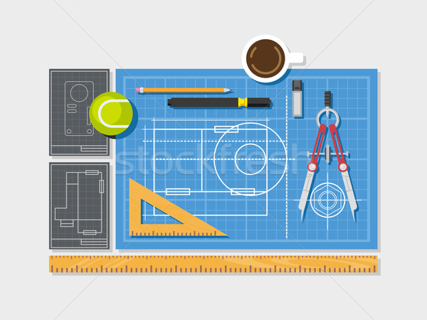 Blueprint with ruler, compass and cup of coffee top view flat style. Stock photo © jossdiim