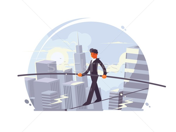 Tightrope walker going on rope Stock photo © jossdiim