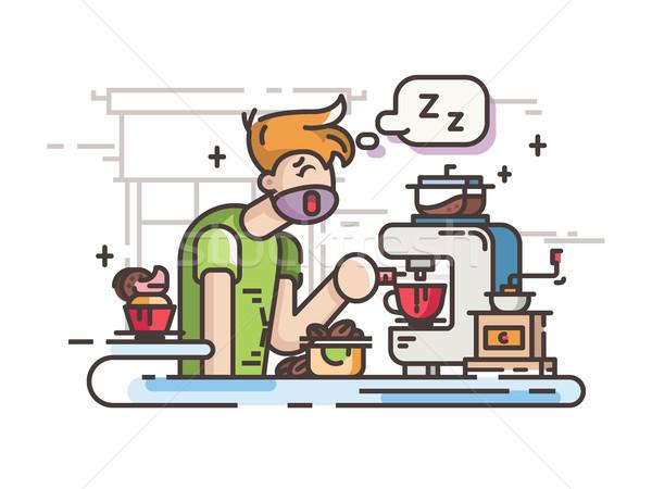 眠い 男 コーヒー キッチン 午前 ストックフォト © jossdiim