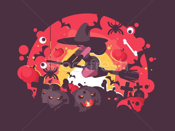 Witch on broomstick flies to Halloween Stock photo © jossdiim