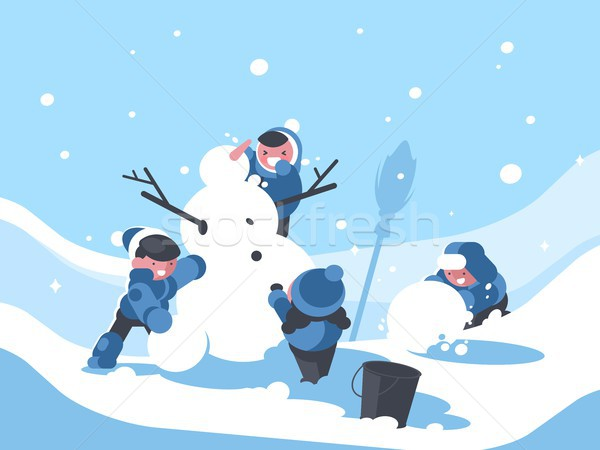 Children build snowman in winter Stock photo © jossdiim