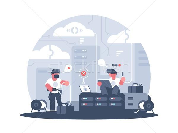 Ingenieros servicio apoyo comunicación conexión ordenador Foto stock © jossdiim