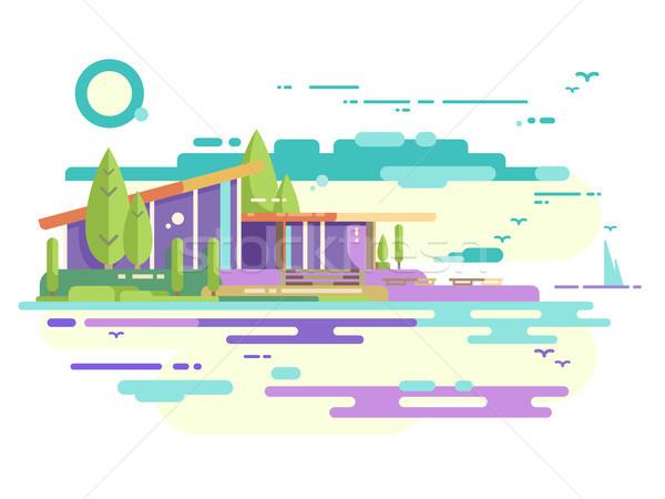 Modern house with panoramic windows Stock photo © jossdiim