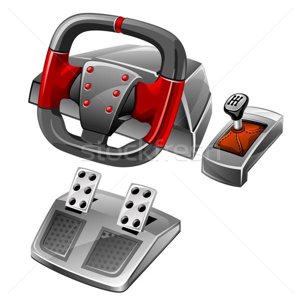 Gra komputerowa koła biały komputera wideo prędkości Zdjęcia stock © jossdiim