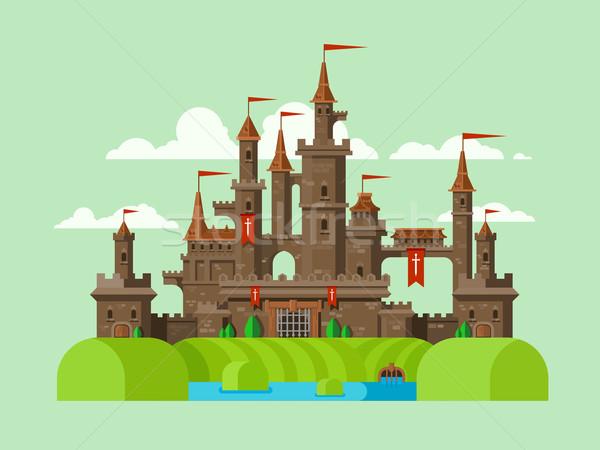 Middeleeuwse kasteel toren gebouw architectuur oude Stockfoto © jossdiim