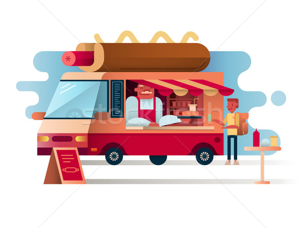 Cafe van hot dogs Stock photo © jossdiim